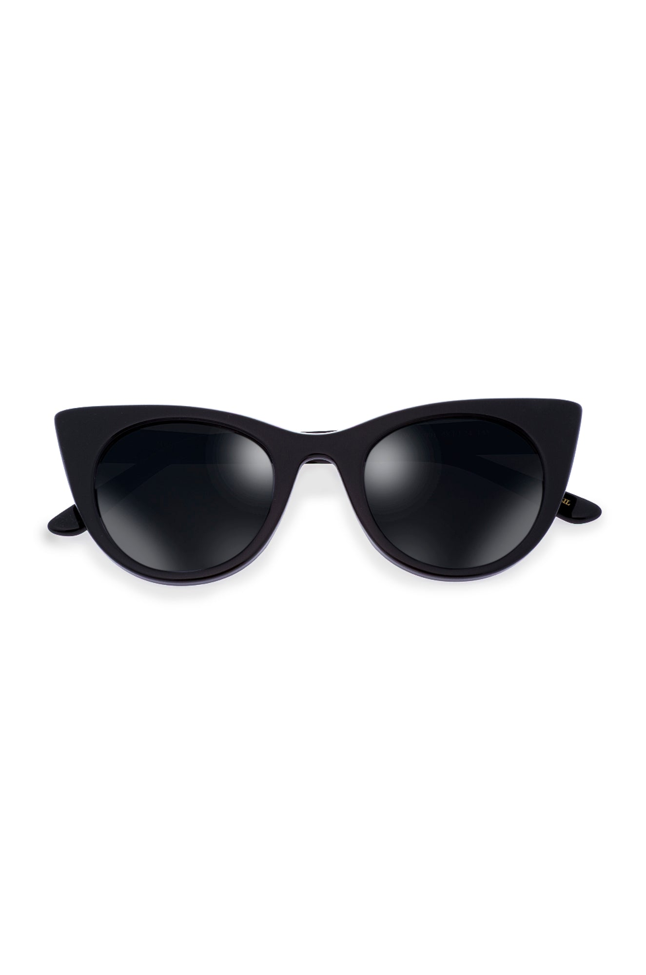 Black Doshow Cat-Eye Sunglasses with Mirrored Lens