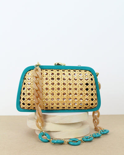 Teal Tina Woven Clutch Bag