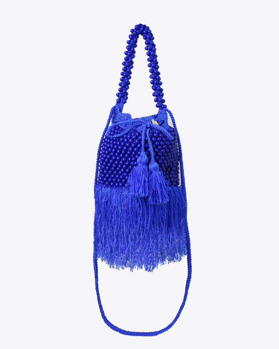 Cobalt Blue Beaded Tassel Bag
