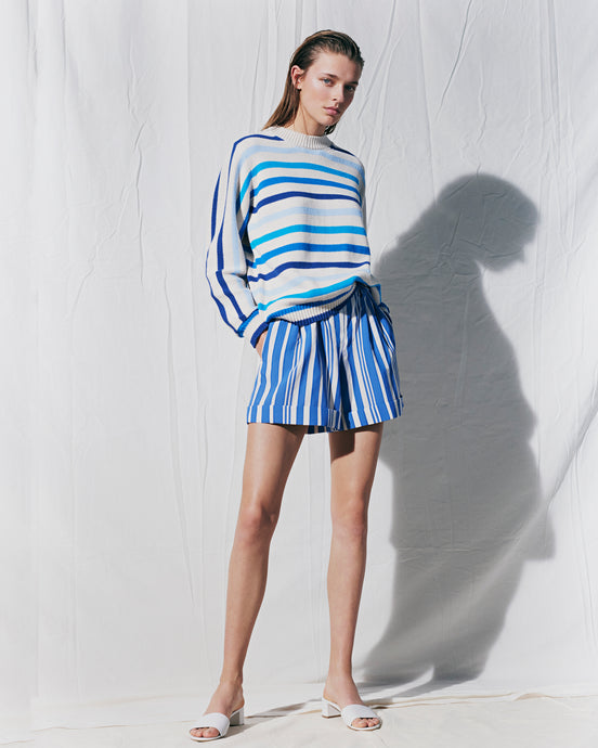 Blue Parasol Striped Shorts