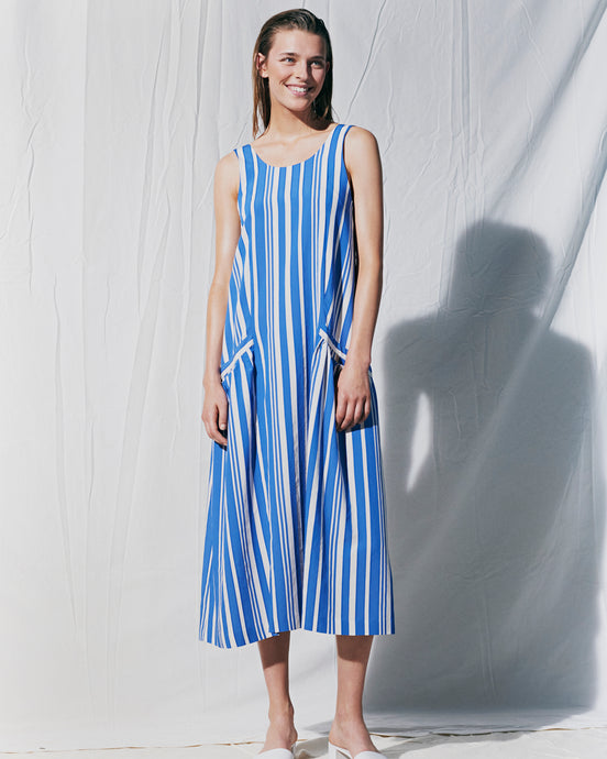 Blue Parasol Striped Sundress