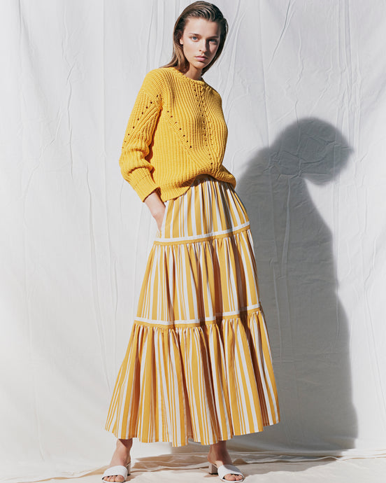 Yellow Parasol Striped Maxi Skirt