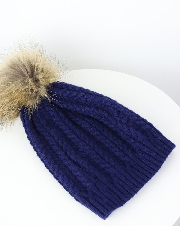 227 | BLAIZ | Navy Pom Pom Cable Knit Winter Hat