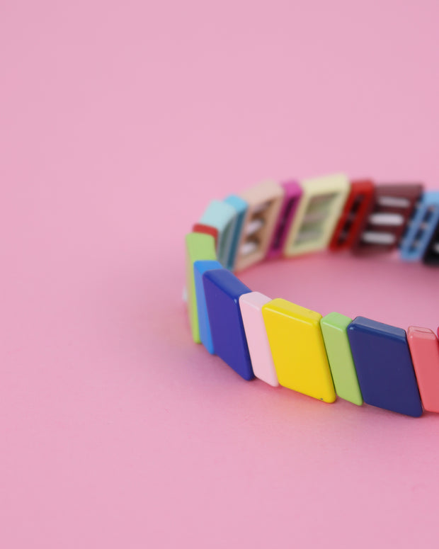 Asymmetric Rainbow Striped Enamel Bracelet