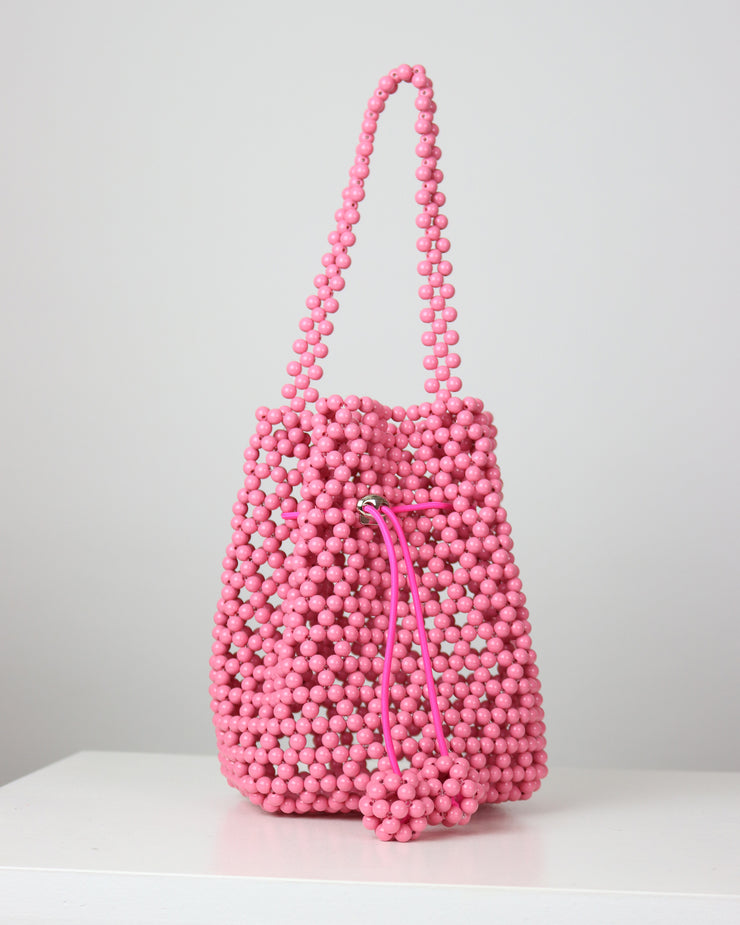 Pink Beaded Basket Bag