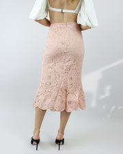 BLAIZ | Miss Mano Peach Pink Lace Midi Skirt