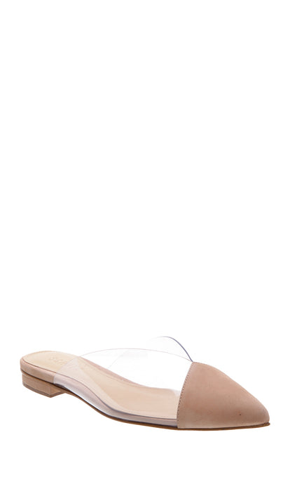 Nude Suede & PVC Mules