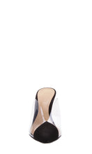 Load image into Gallery viewer, Black Suede & PVC High Heeled Mules