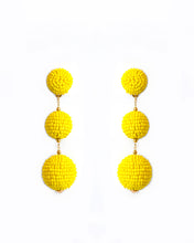 Load image into Gallery viewer, Yellow Triple Bobble Earrings