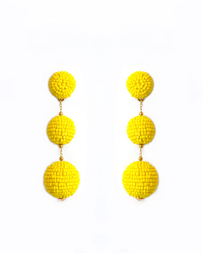 Yellow Triple Bobble Earrings
