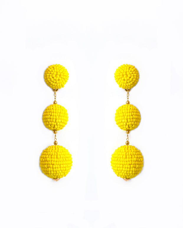227 | BLAIZ | Yellow Triple Bobble Beaded Earrings