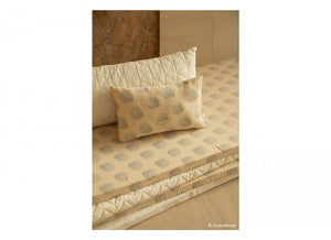 Nobodinoz - Coussin Laurel 22*35 blue gatsby cream