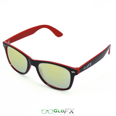 Red and Black - Gold Mirror Diffraction Glasses