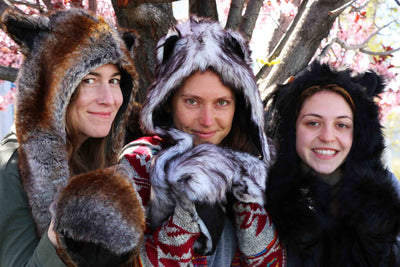 Furry Black Wolf Festival Fashion Hood