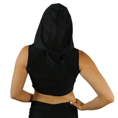 Soft Black - Ninja Hooded Crop Top