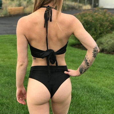 Soft Black - High Waisted Thong