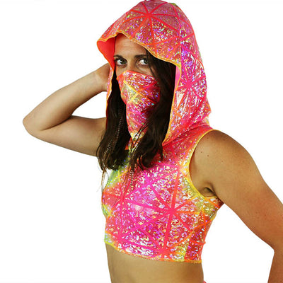 Star Burst - Ninja Hooded Crop Top