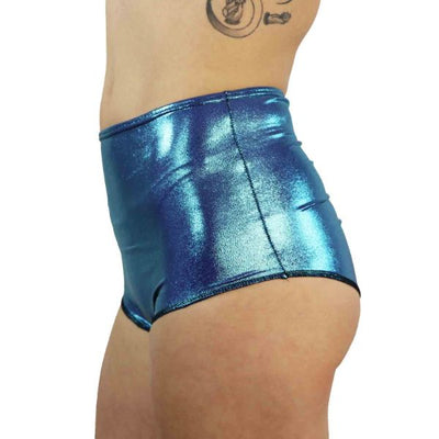 Teal Microdot - High Waist Shorts