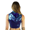 Teal Microdot - Ninja Hooded Crop Top