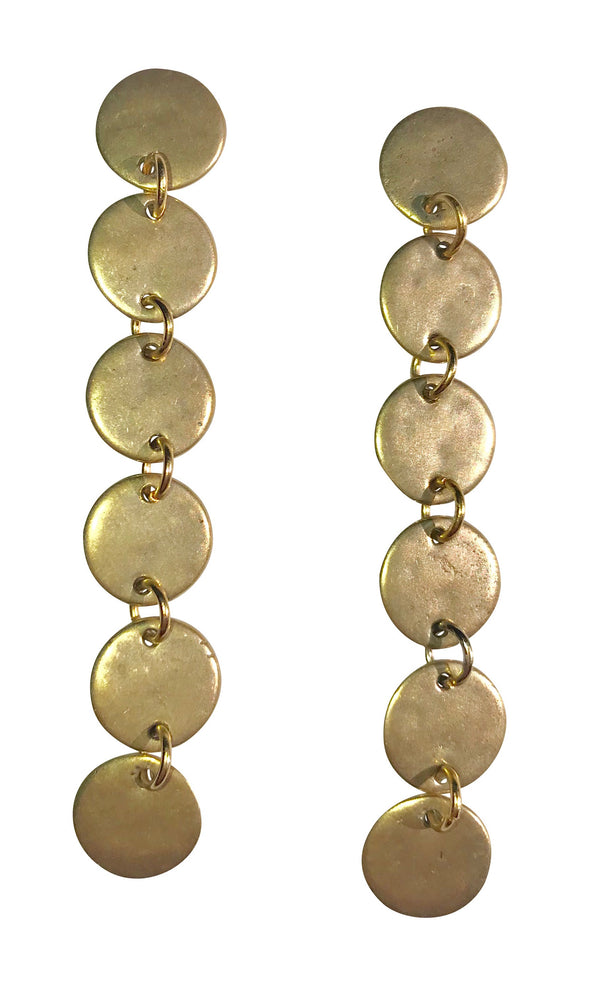 Circle Drop Earrings in Yellow Bronze