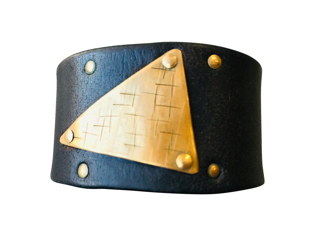 Leather and Hand-Stamped Brass Cuff