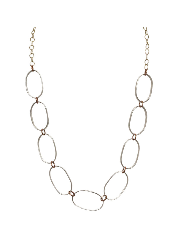 Elegant Silver Oval Necklace