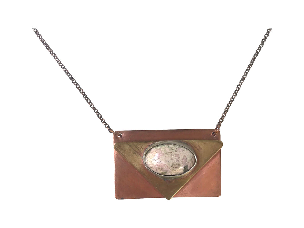 Geometric Mixed Metal Pendant