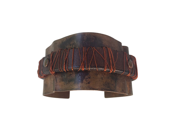 Copper and Leather Cuff
