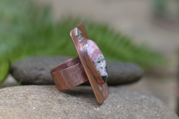 Copper and Rhodonite Teardrop Ring, 8
