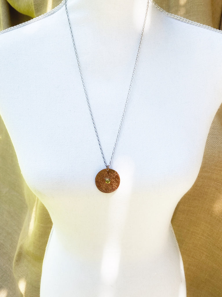 Textured Copper and Brass Pendant