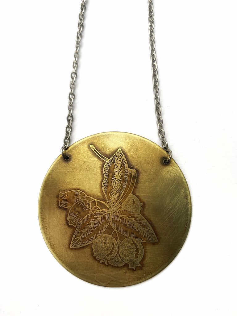 Etched Blueberry Pendant in Copper or Brass