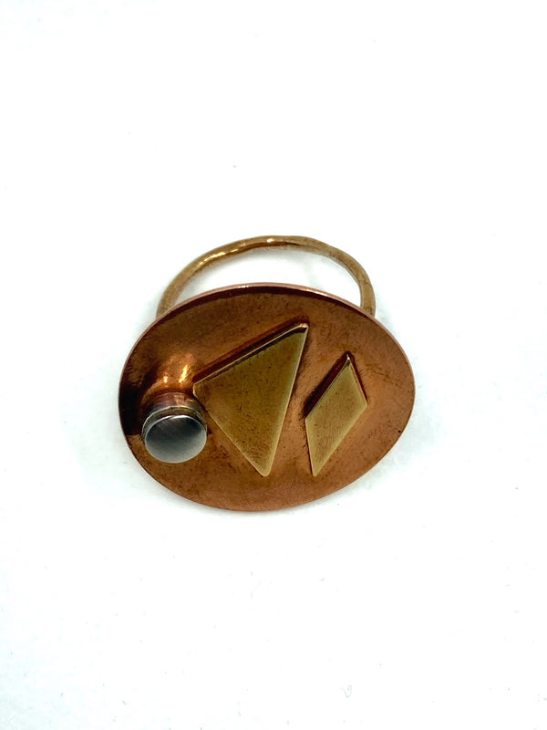 Copper-Brass-Steel Statement Ring