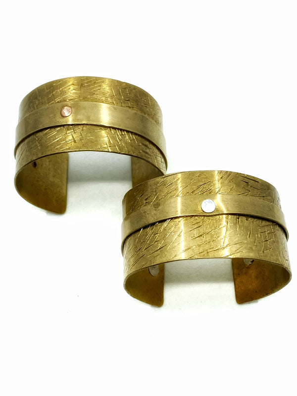 Textured Riveted Brass Cuff
