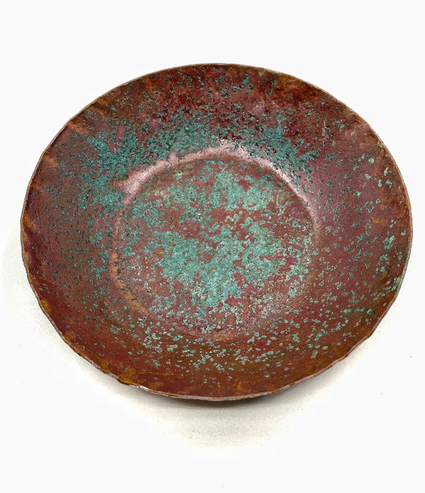 Hammered Copper Bowl with Natural Patina -- Limited Edition #6