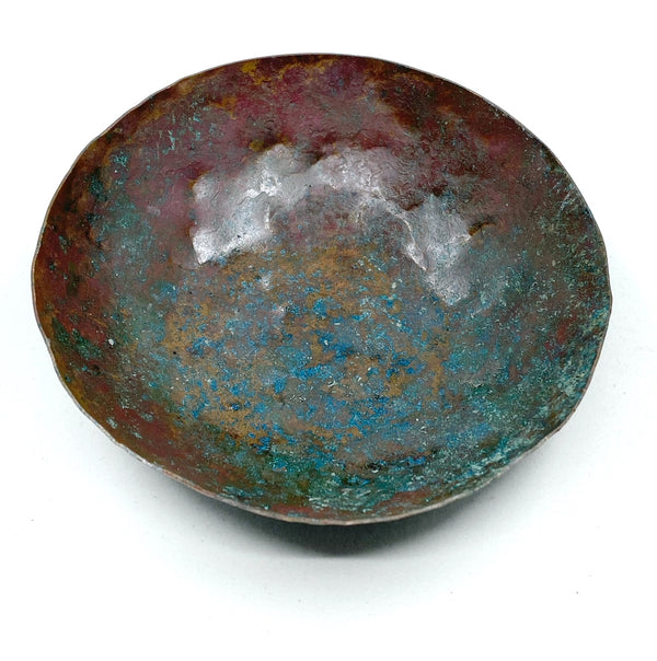 Hammered Copper Bowl with Natural Patina -- Limited Edition #4