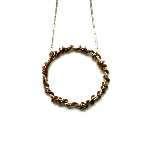 Pretty Circle Mixed Metal Necklace