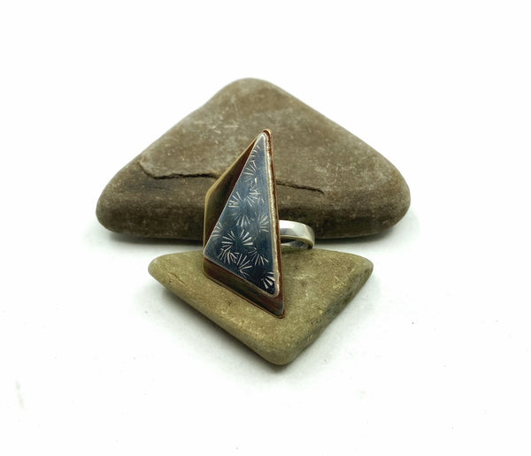 Trapezoid Triangle Stamped Ring, 6.25
