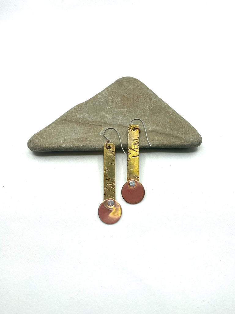 Hammered Brass and Copper Earring