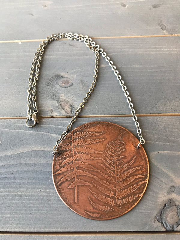 Etched Copper Fern Necklace