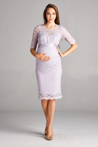 Lavendar Floral Lace Maternity Dress