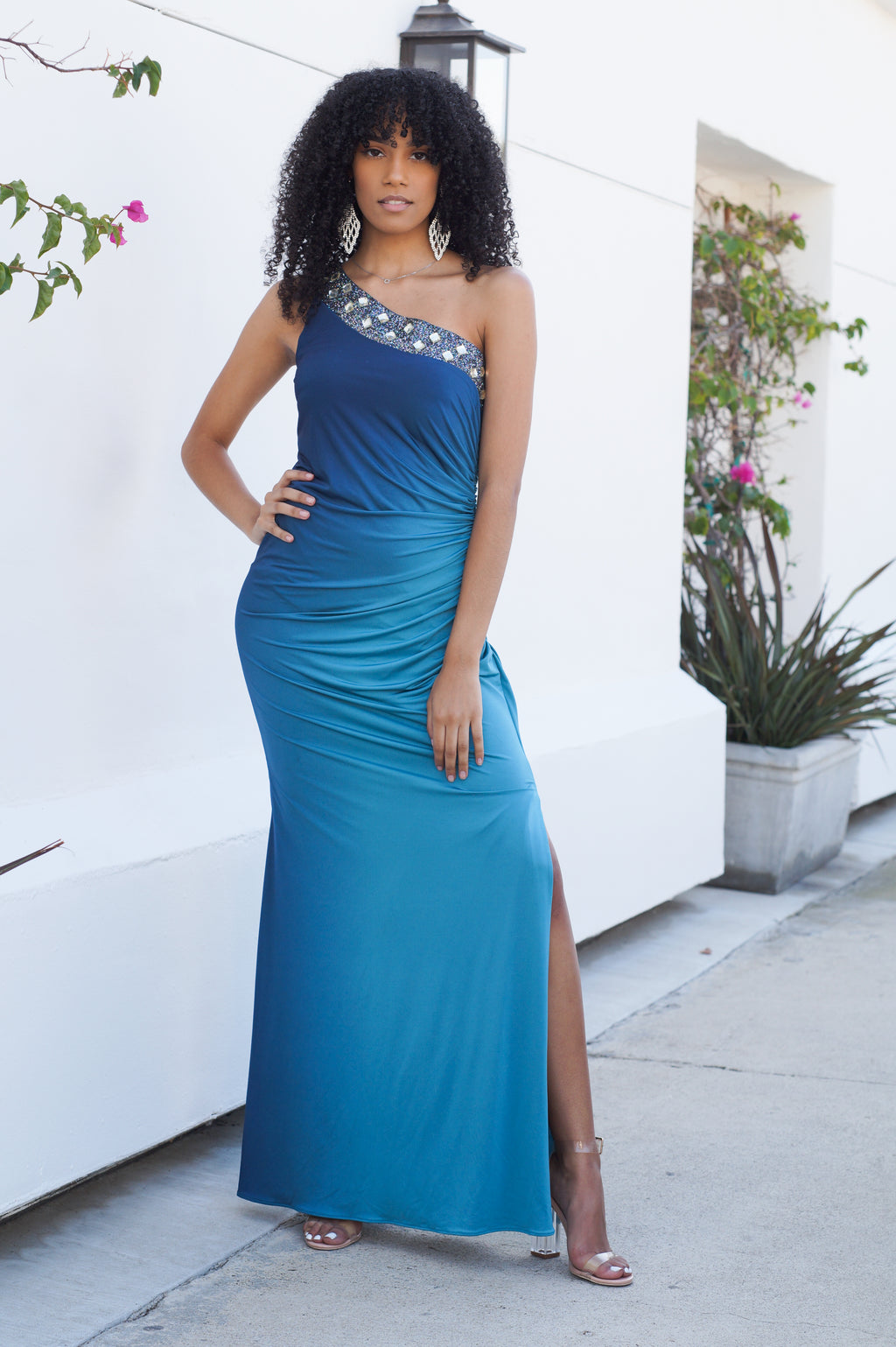 Ombre One Shoulder Gown
