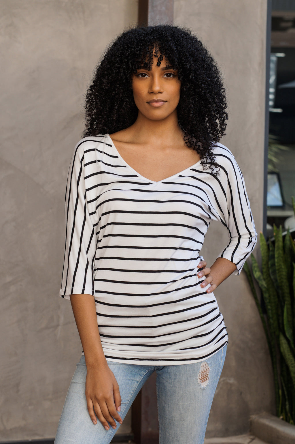 Striped V-Neck Womens Top