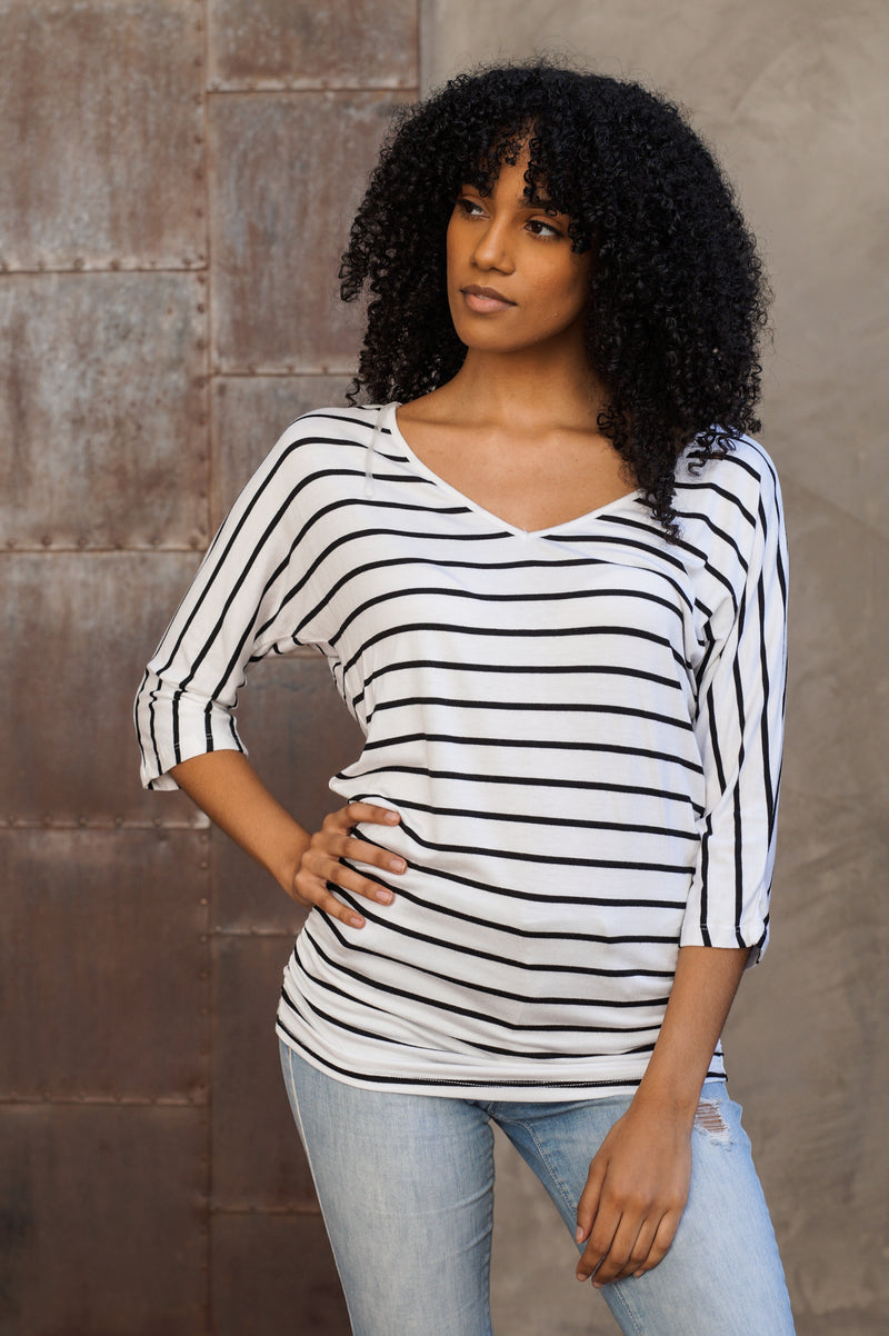Striped V-Neck Womens Top - Mommylicious