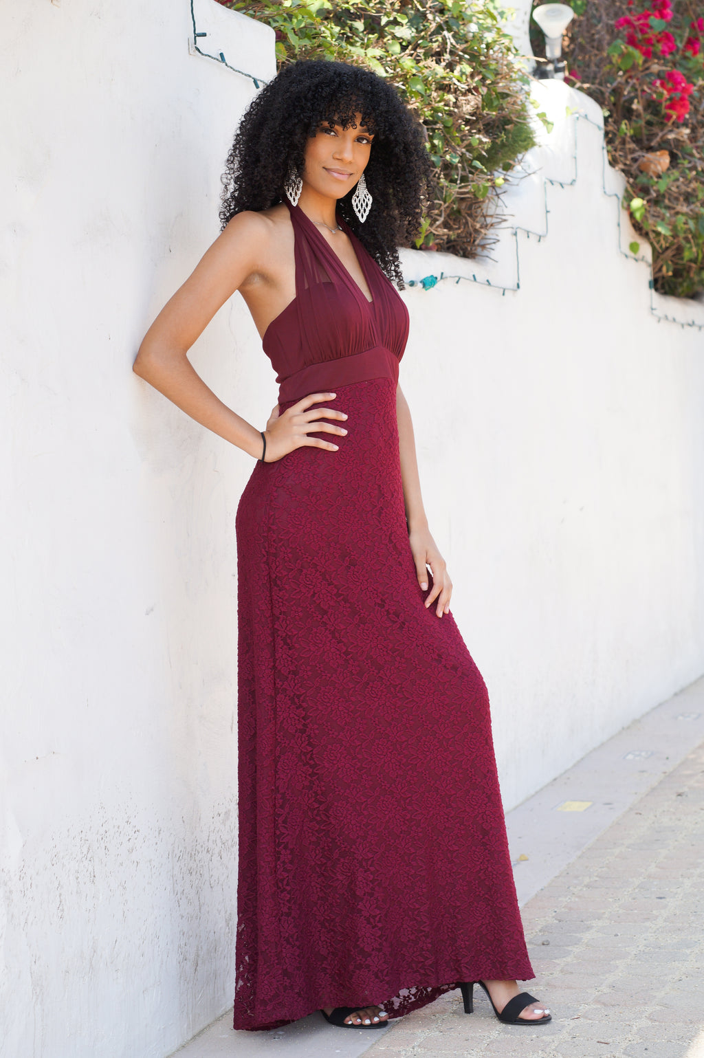 Lace Halter Evening Gown - Mommylicious
