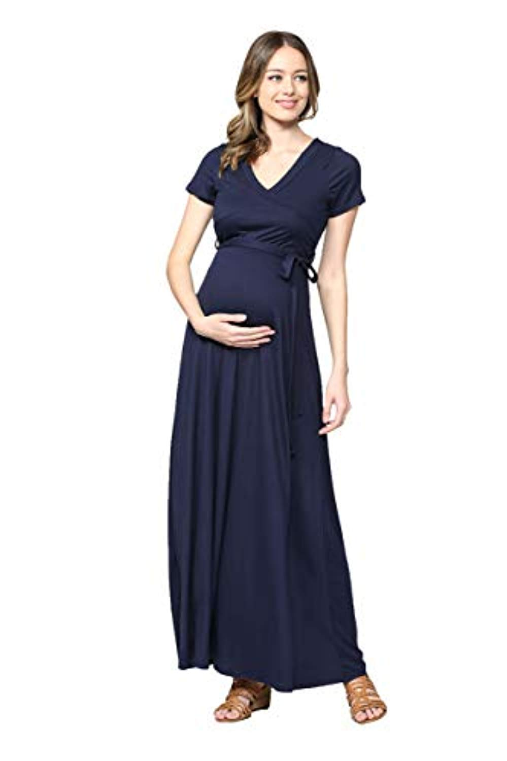Navy Maxi Maternity Dress with Belt