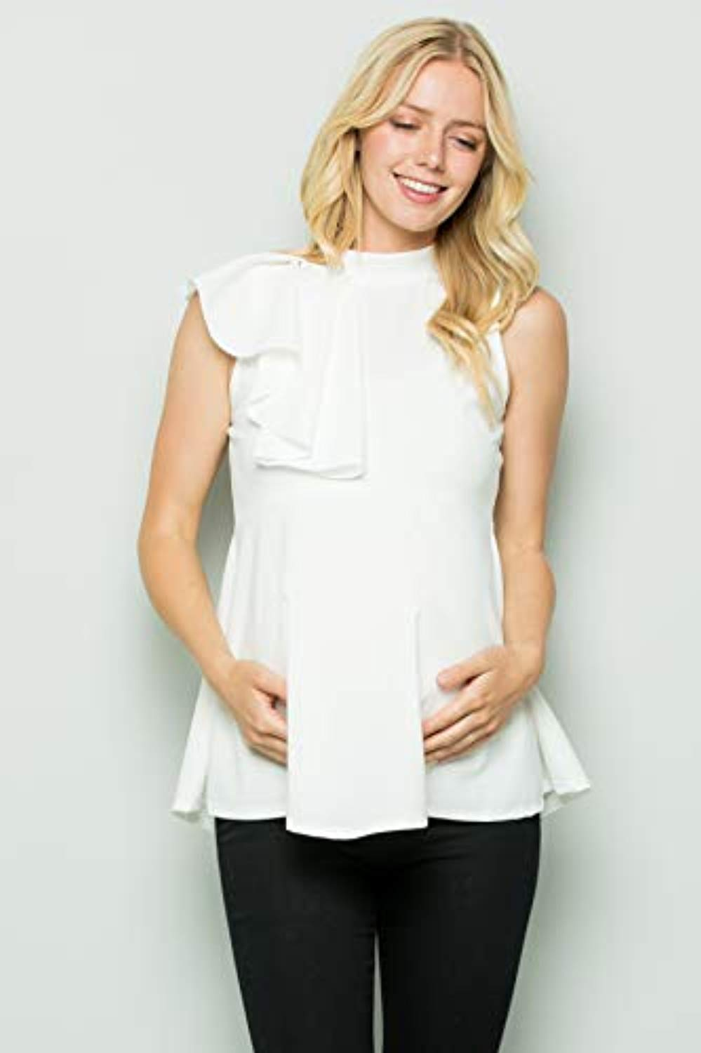 Offwhite Side Ruffle Peplum Maternity Top - Mommylicious