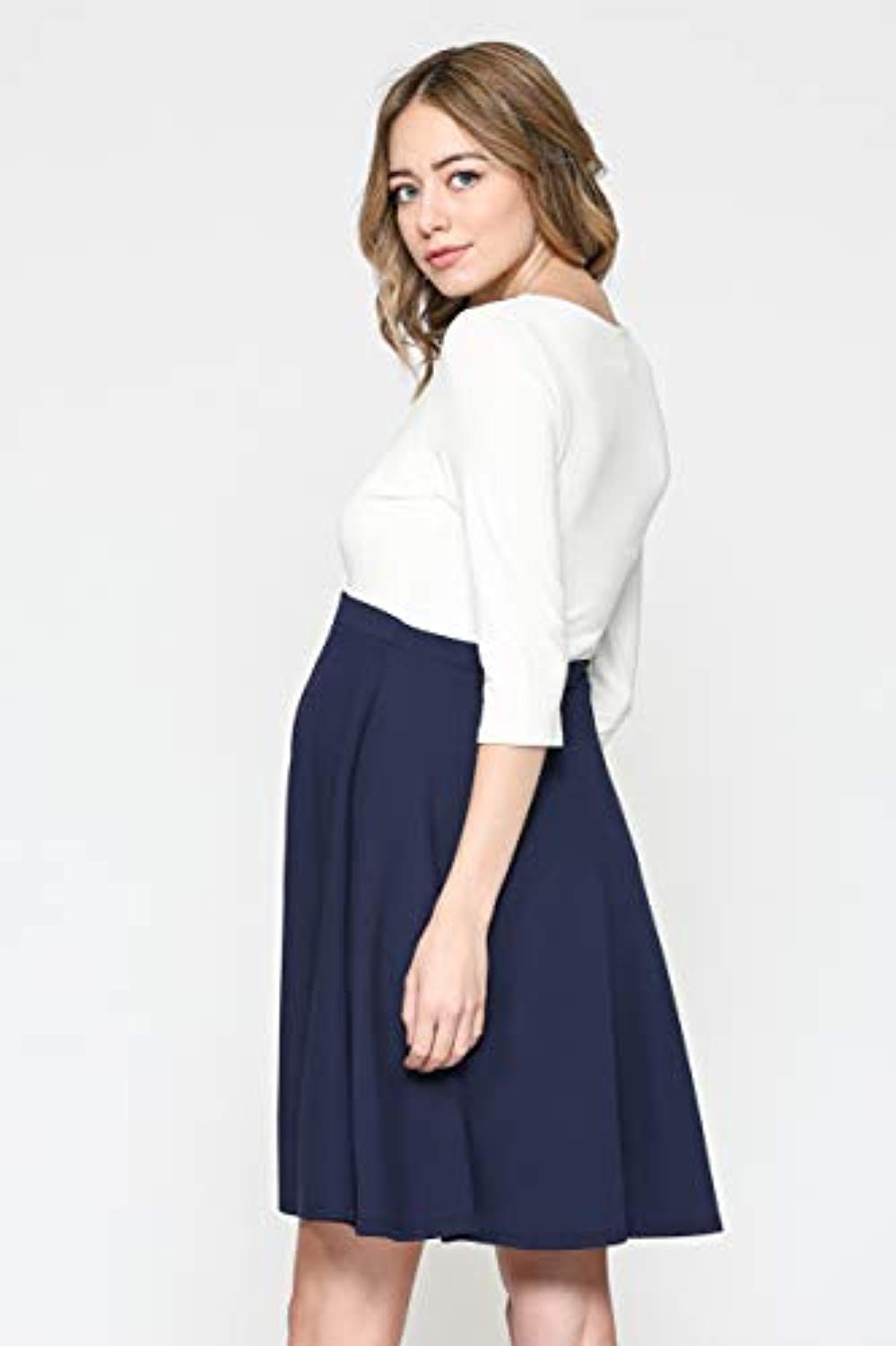 white and navy midi maternity dress