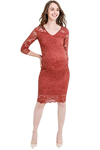 Rusty Red Floral Lace Knee Length Bodycon Dress