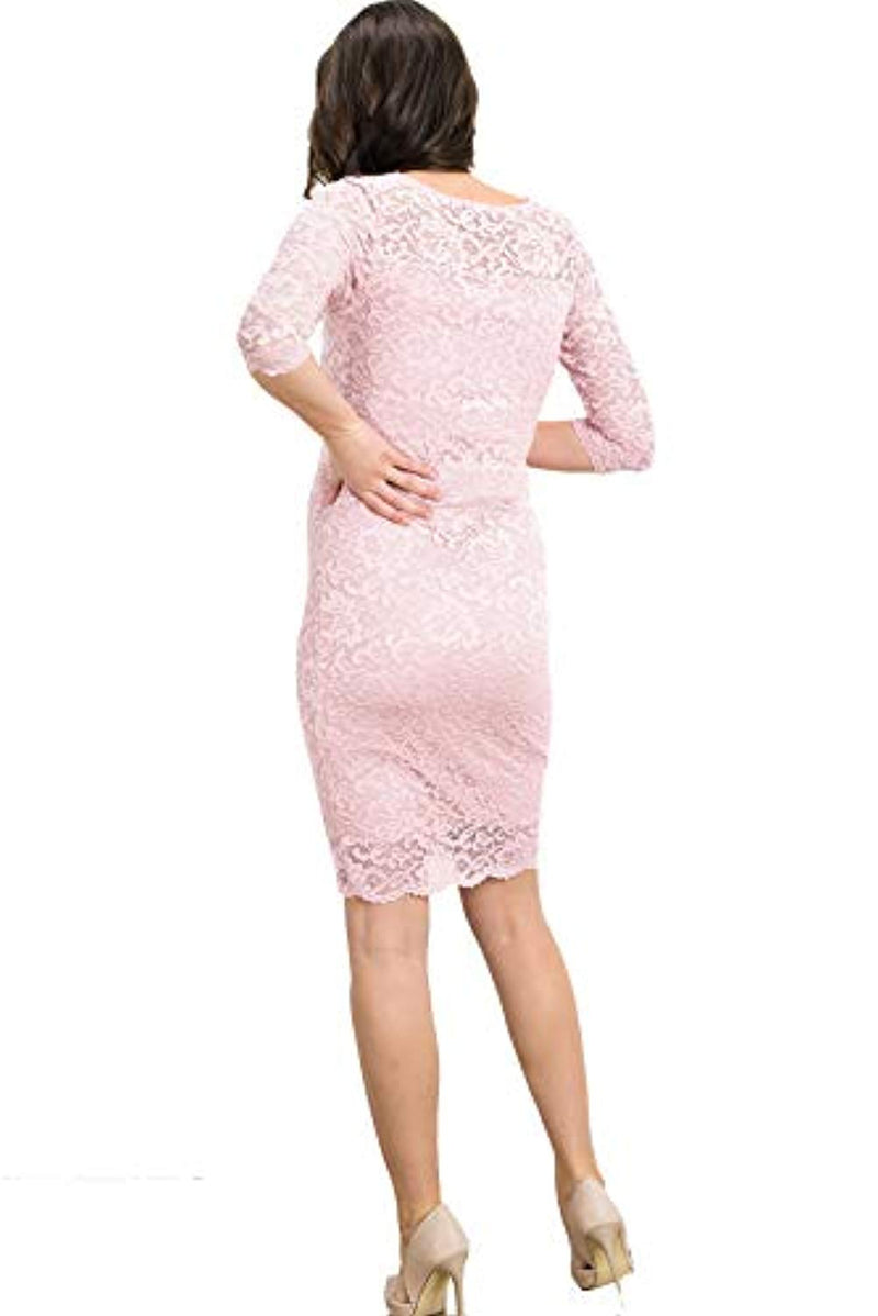 Floral Lace Knee Length Maternity Dress - Mommylicious