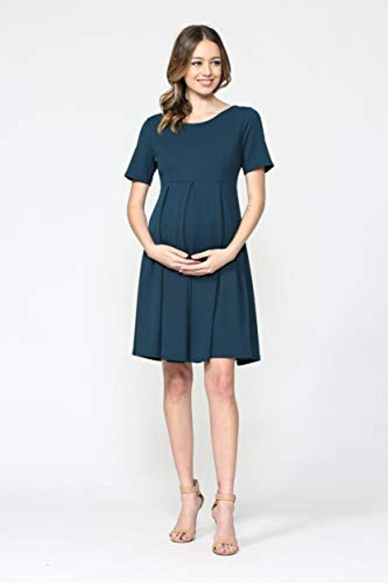Teal Maternity Midi Dress - Mommylicious